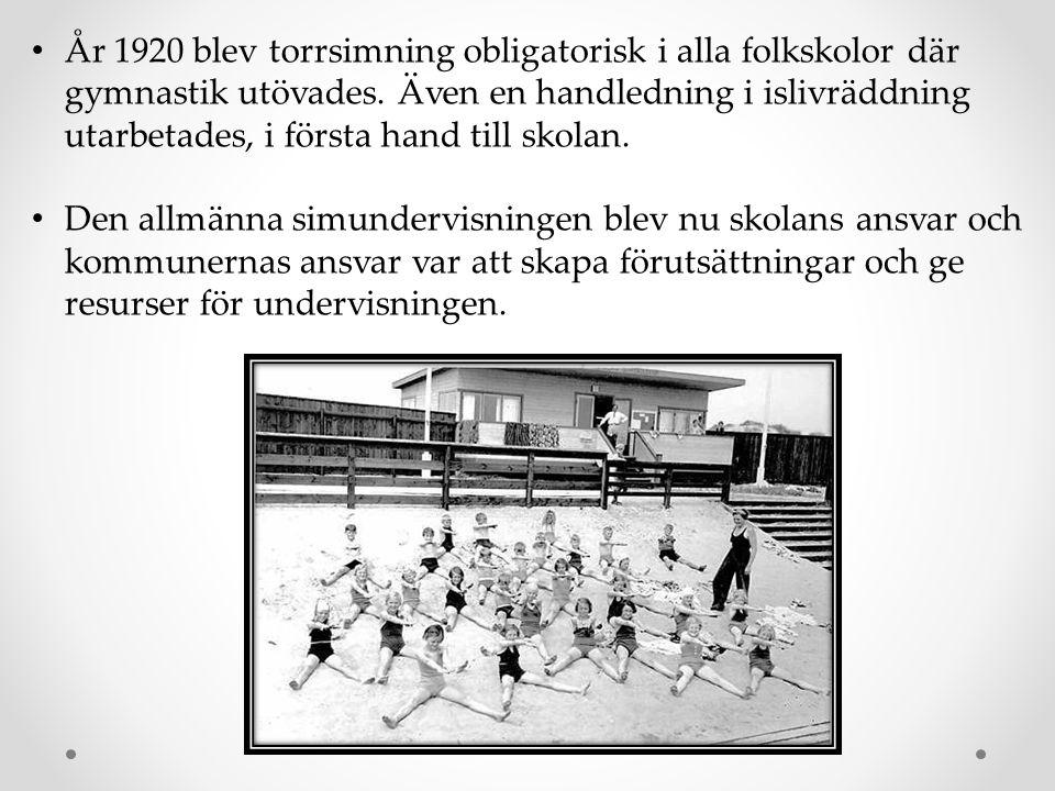 År 1920 blev torrsimning obligatorisk i alla folkskolor där gymnastik utövades. Även en handledning i islivräddning utarbetades, i första hand till skolan.