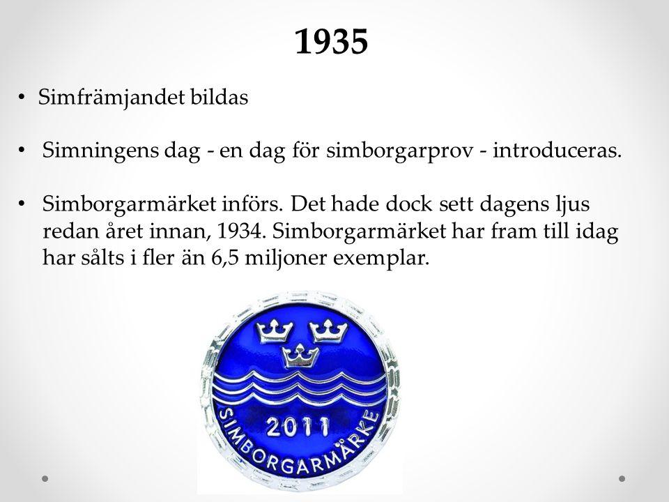 1935 Simfrämjandet bildas. Simningens dag - en dag för simborgarprov - introduceras.