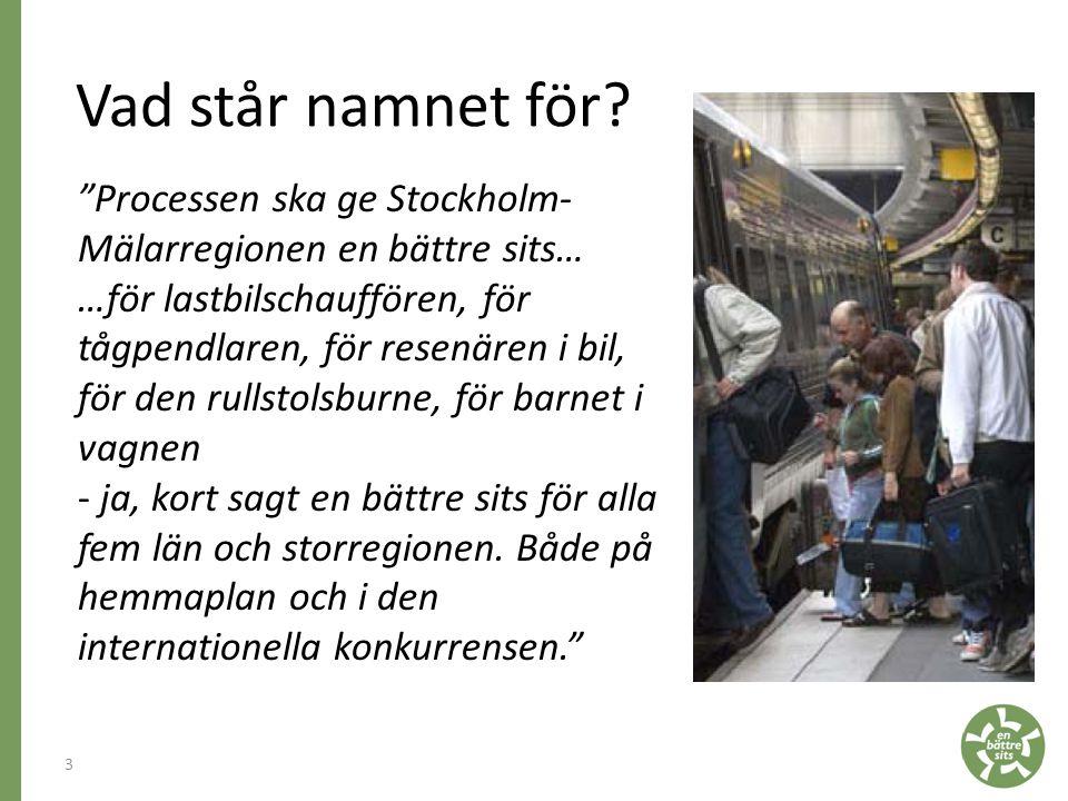 Vad står namnet för Processen ska ge Stockholm- Mälarregionen en bättre sits…