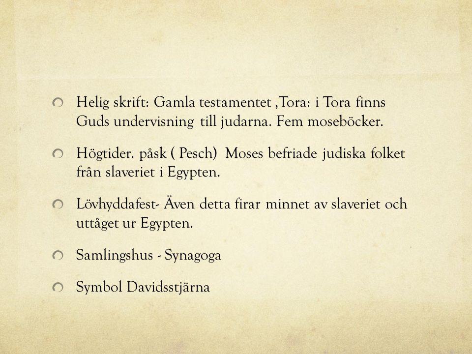 Helig skrift: Gamla testamentet ,Tora: i Tora finns Guds undervisning till judarna. Fem moseböcker.
