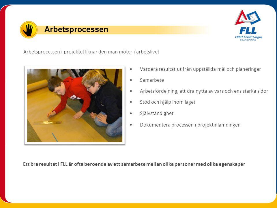 Arbetsprocessen Arbetsprocessen i projektet liknar den man möter i arbetslivet. Värdera resultat utifrån uppställda mål och planeringar.