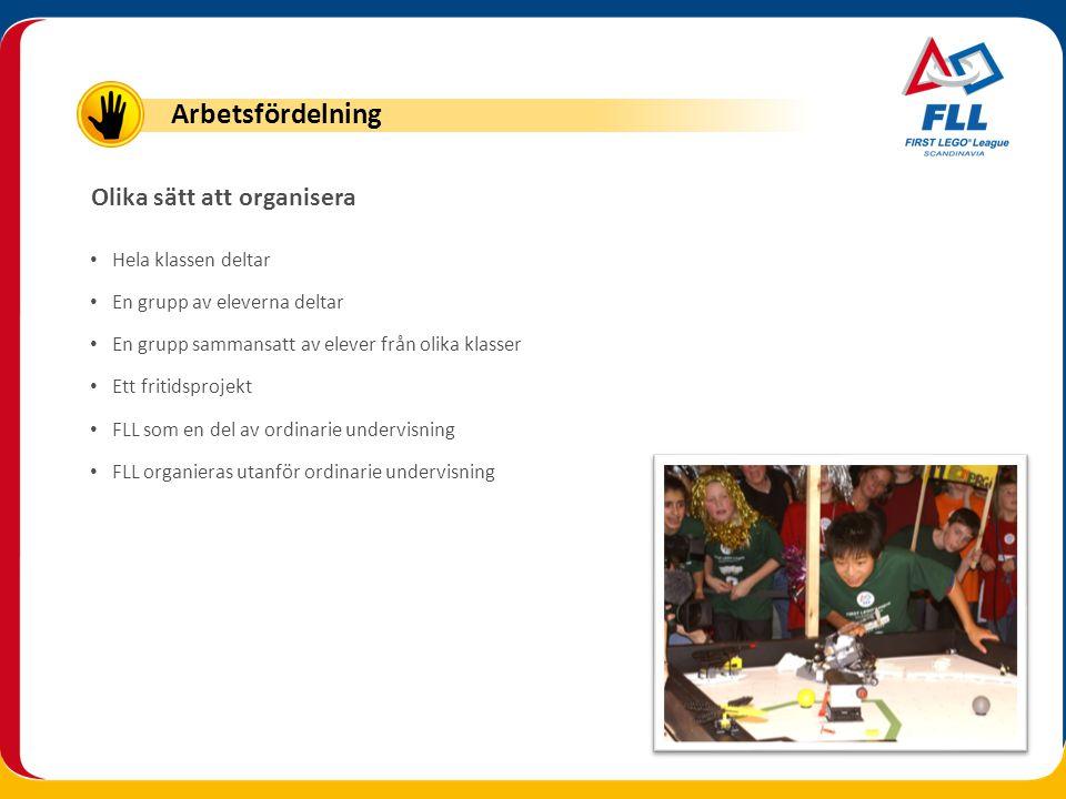 Arbetsfördelning Olika sätt att organisera Hela klassen deltar