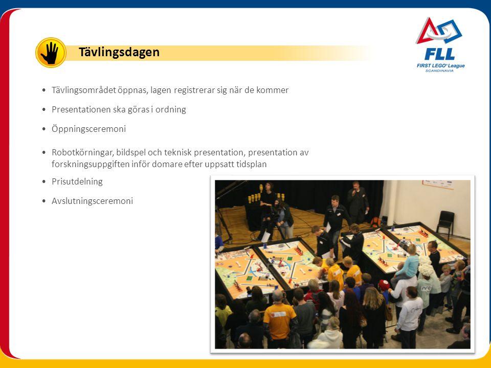 Tävlingsdagen Tävlingsområdet öppnas, lagen registrerar sig när de kommer. Presentationen ska göras i ordning.