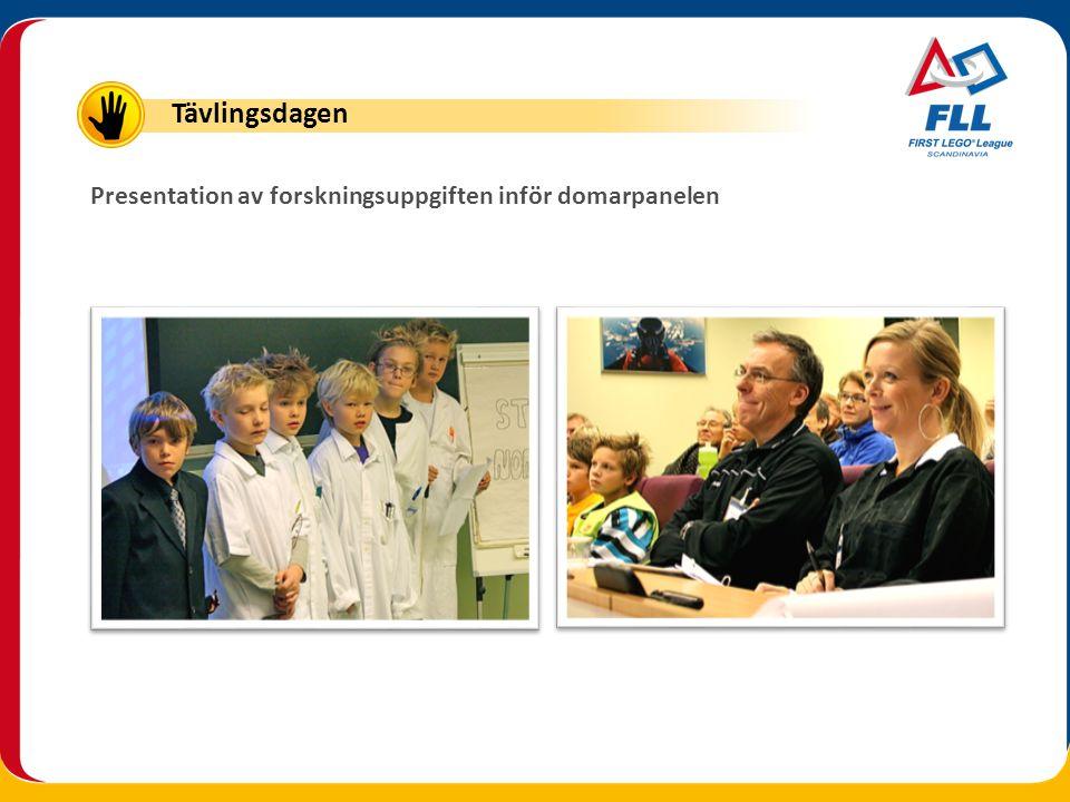 Tävlingsdagen Presentation av forskningsuppgiften inför domarpanelen