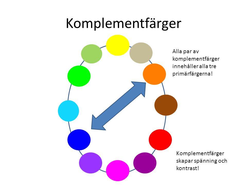 Komplementfärger Alla par av komplementfärger innehåller alla tre primärfärgerna.
