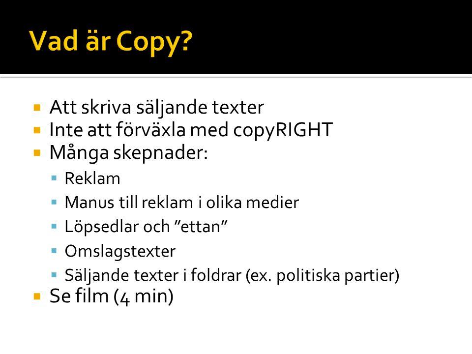 Vad är Copy Att skriva säljande texter