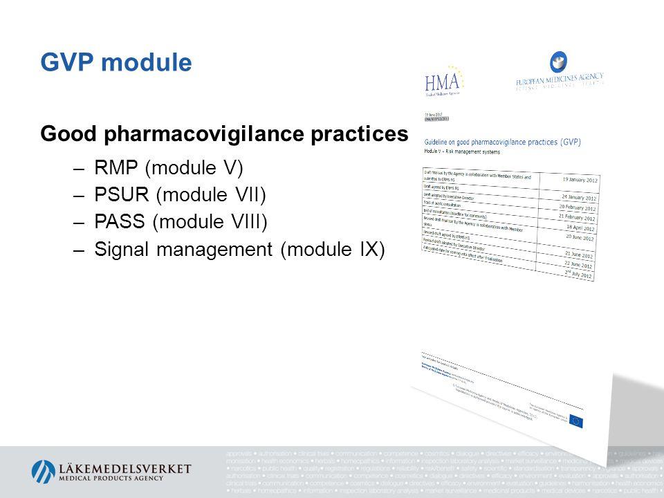 GVP module Good pharmacovigilance practices RMP (module V)