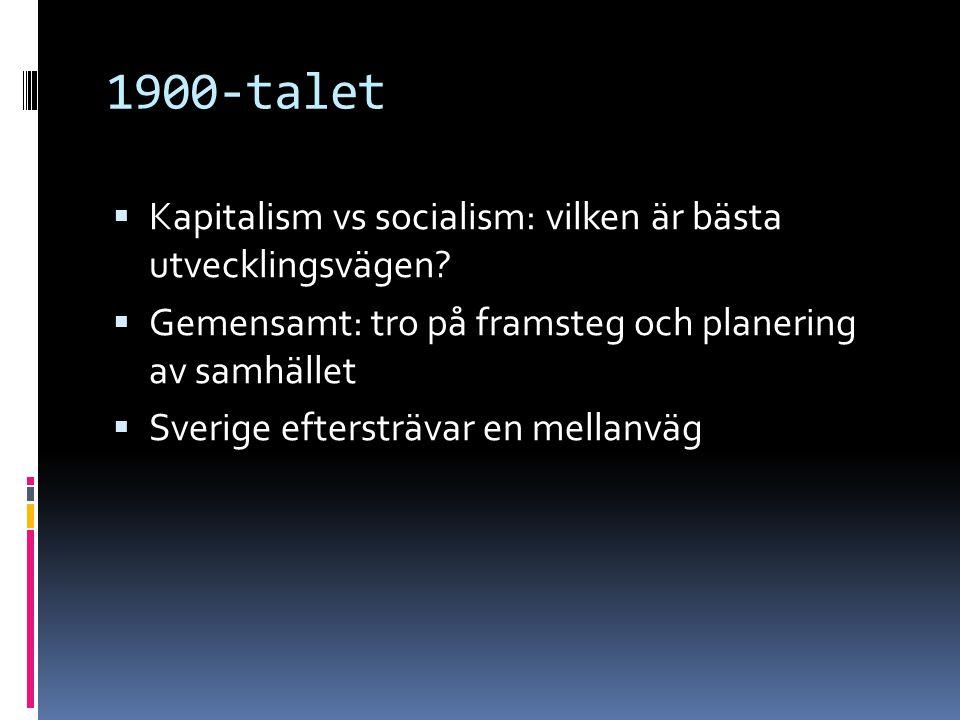 1900-talet Kapitalism vs socialism: vilken är bästa utvecklingsvägen