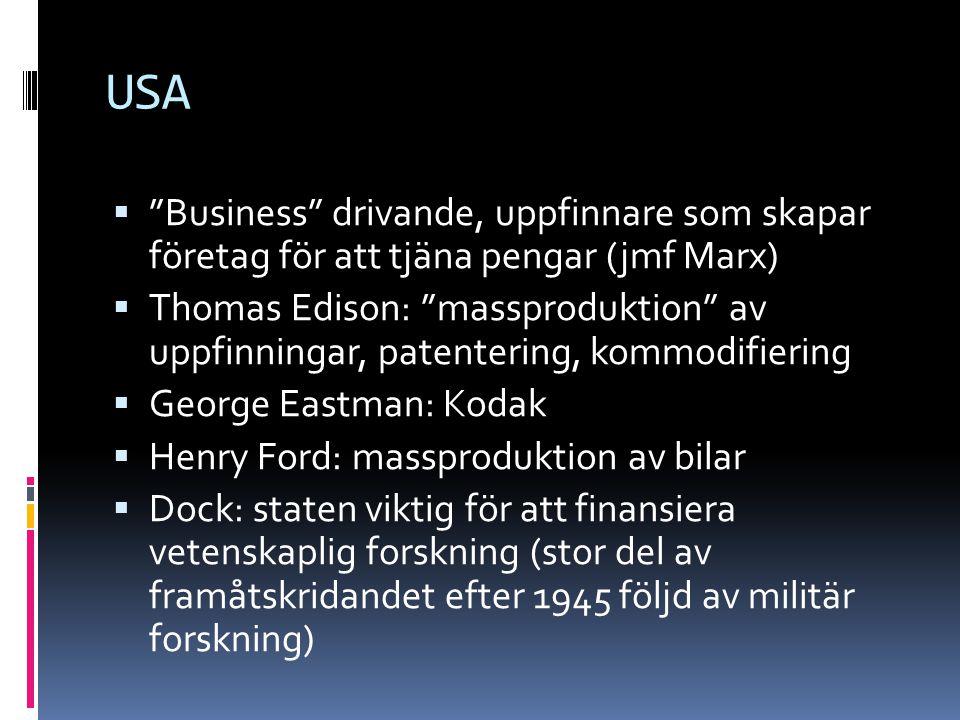 USA Business drivande, uppfinnare som skapar företag för att tjäna pengar (jmf Marx)