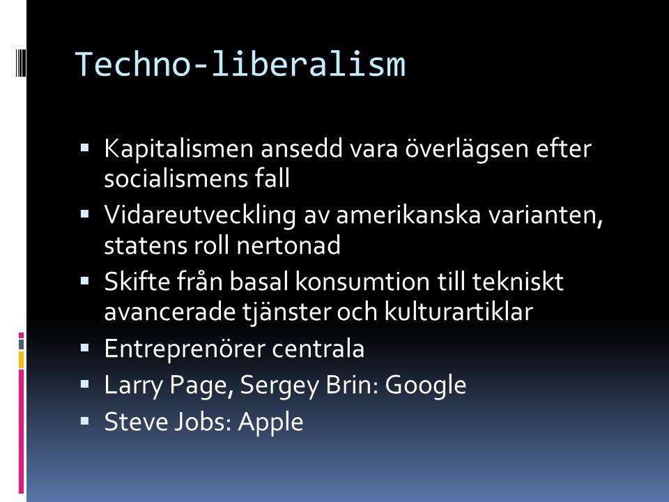 Techno-liberalism Kapitalismen ansedd vara överlägsen efter socialismens fall. Vidareutveckling av amerikanska varianten, statens roll nertonad.