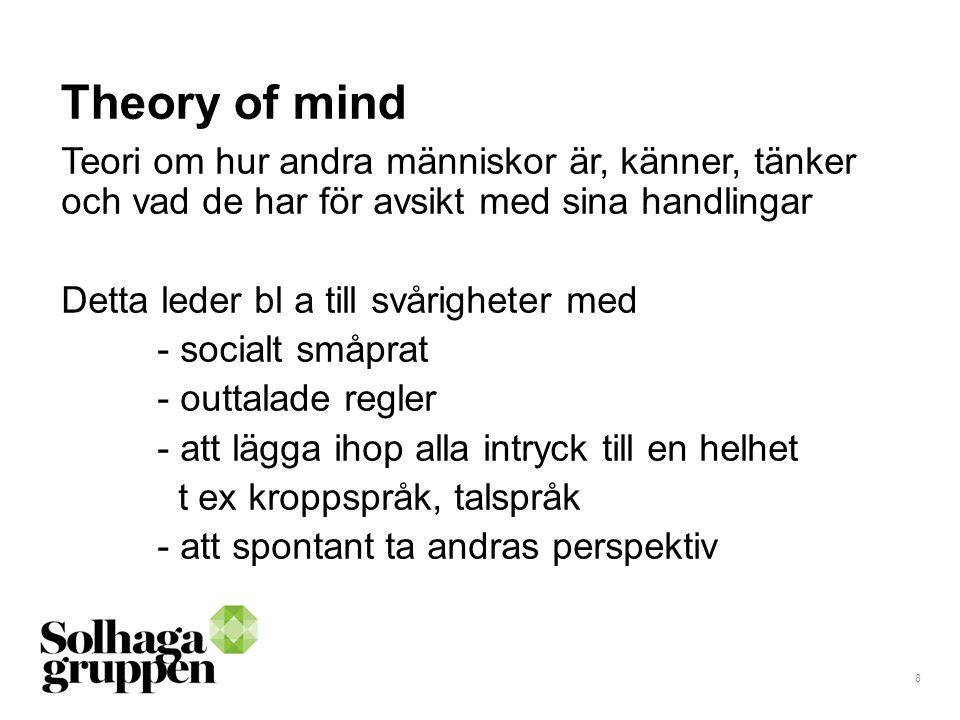 Theory of mind Teori om hur andra människor är, känner, tänker och vad de har för avsikt med sina handlingar.