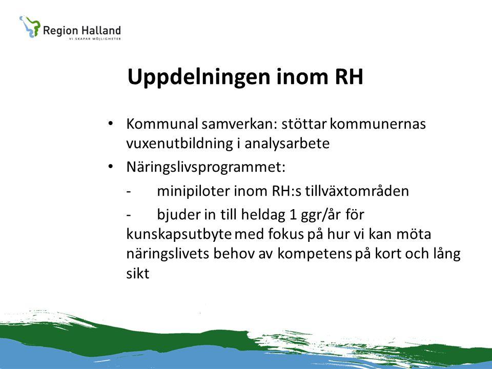 Uppdelningen inom RH Kommunal samverkan: stöttar kommunernas vuxenutbildning i analysarbete. Näringslivsprogrammet: