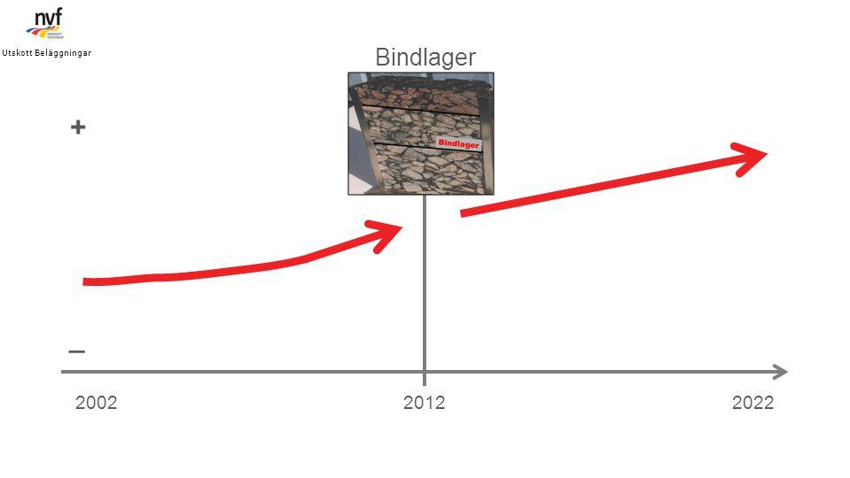 Utskott Beläggningar Bindlager. + _. 2002. 2012. 2022.