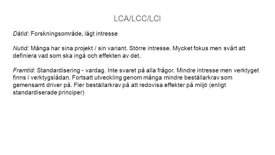 LCA/LCC/LCI Dåtid: Forskningsområde, lågt intresse