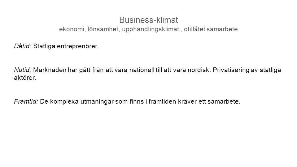 Business-klimat ekonomi, lönsamhet, upphandlingsklimat , otillåtet samarbete