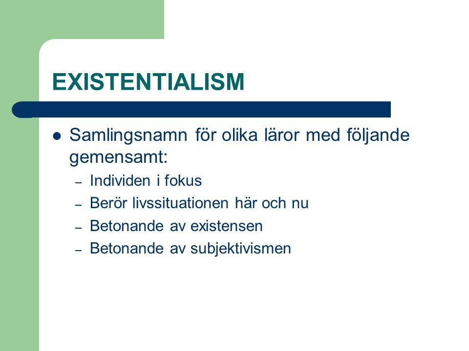 EXISTENTIALISM Samlingsnamn för olika läror med följande gemensamt: