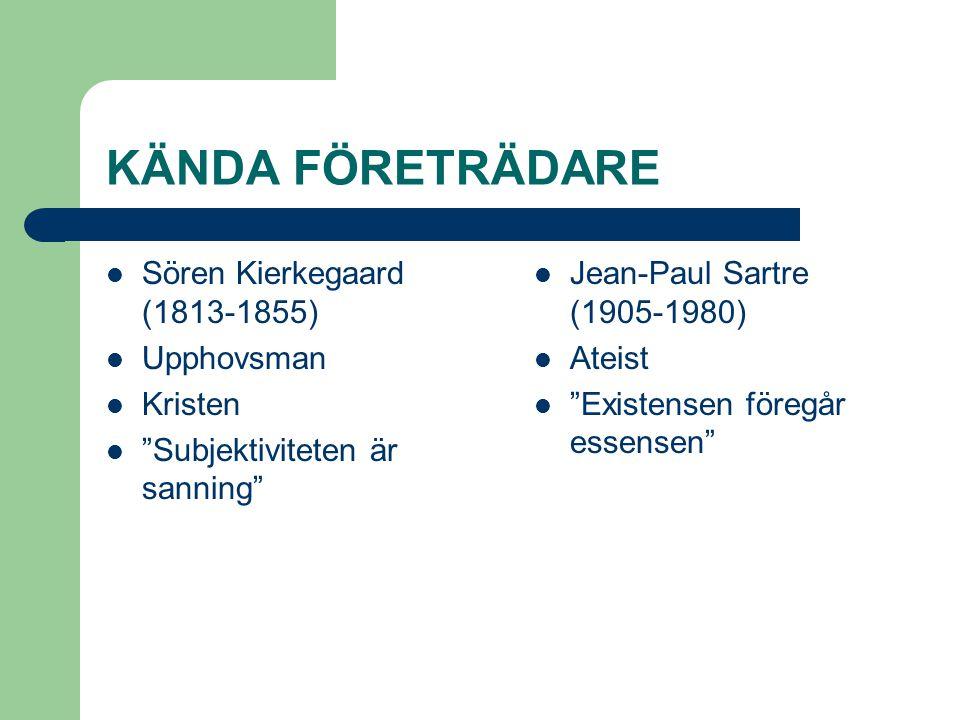 KÄNDA FÖRETRÄDARE Sören Kierkegaard (1813-1855) Upphovsman Kristen