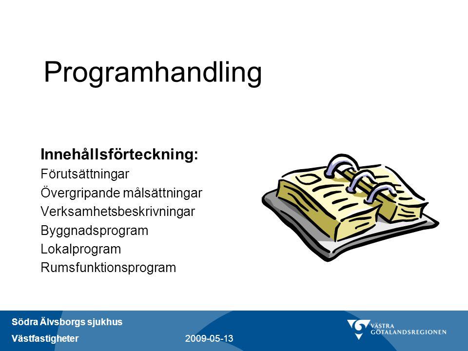 Programhandling Innehållsförteckning: Förutsättningar
