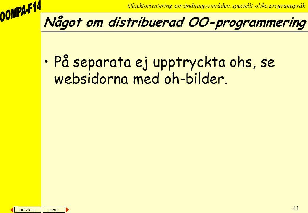 Något om distribuerad OO-programmering