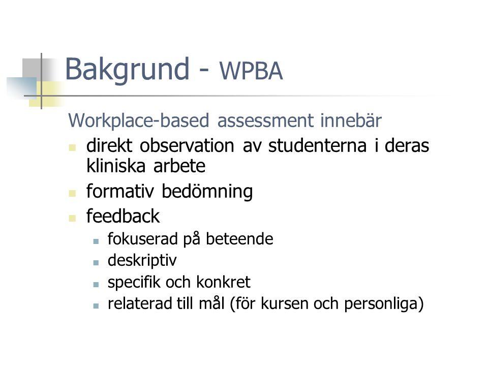 Bakgrund - WPBA Workplace-based assessment innebär