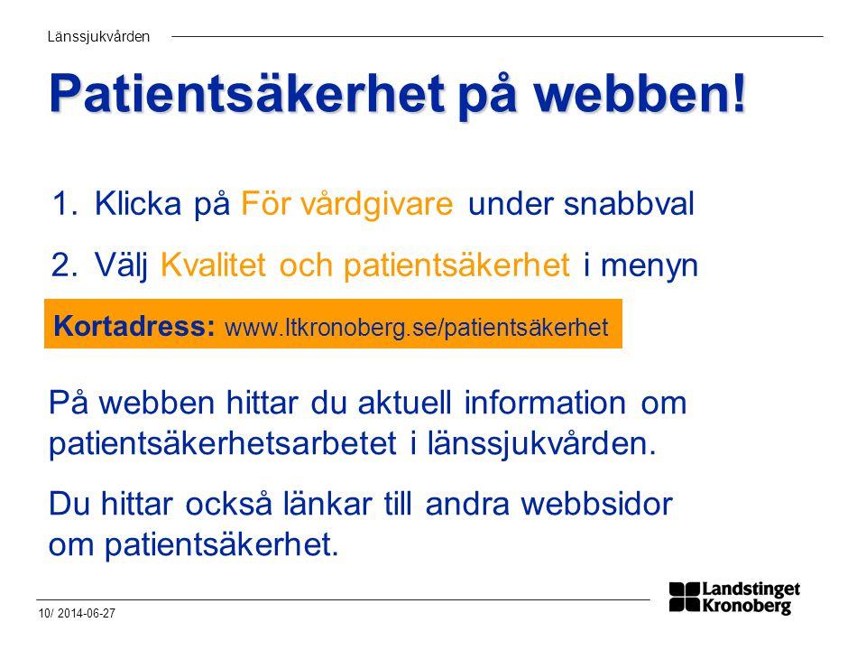 Patientsäkerhet på webben!