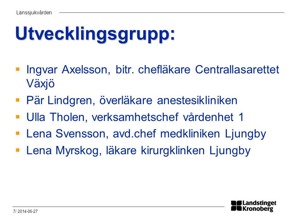 Utvecklingsgrupp: Ingvar Axelsson, bitr. chefläkare Centrallasarettet Växjö. Pär Lindgren, överläkare anestesikliniken.