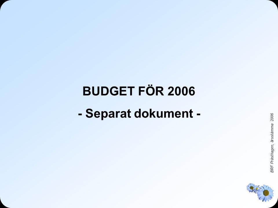 BUDGET FÖR 2006 - Separat dokument -