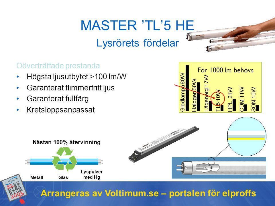 MASTER 'TL'5 HE Lysrörets fördelar