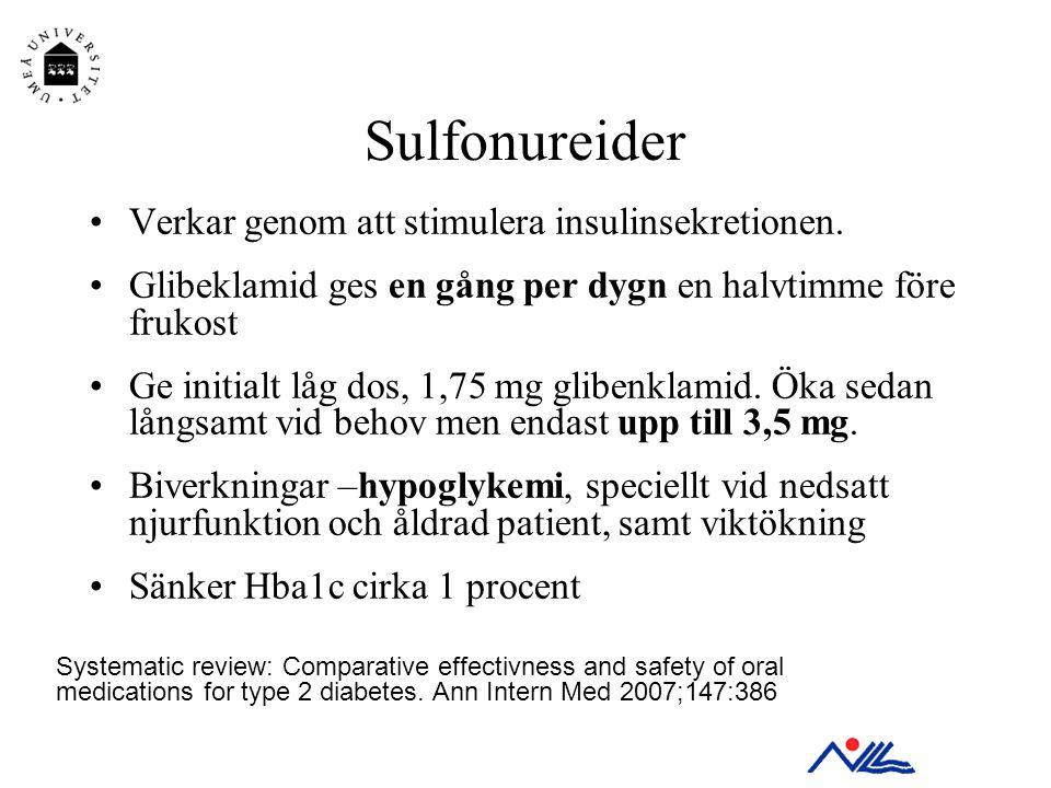 Sulfonureider Verkar genom att stimulera insulinsekretionen.