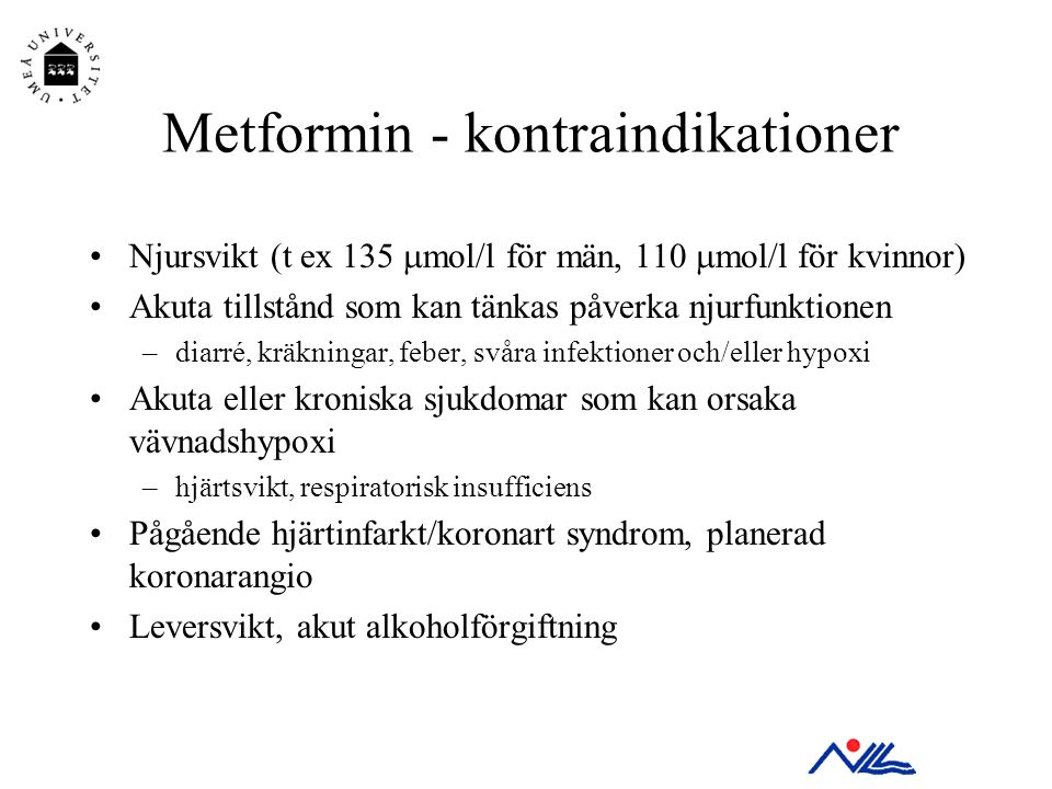 Metformin - kontraindikationer
