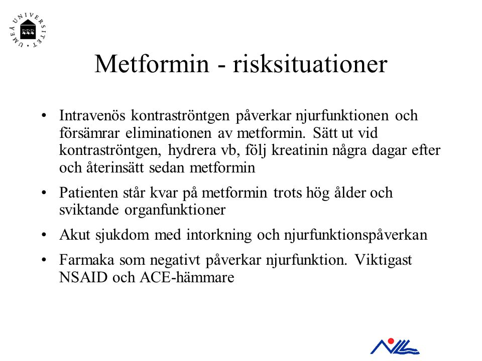 Metformin - risksituationer