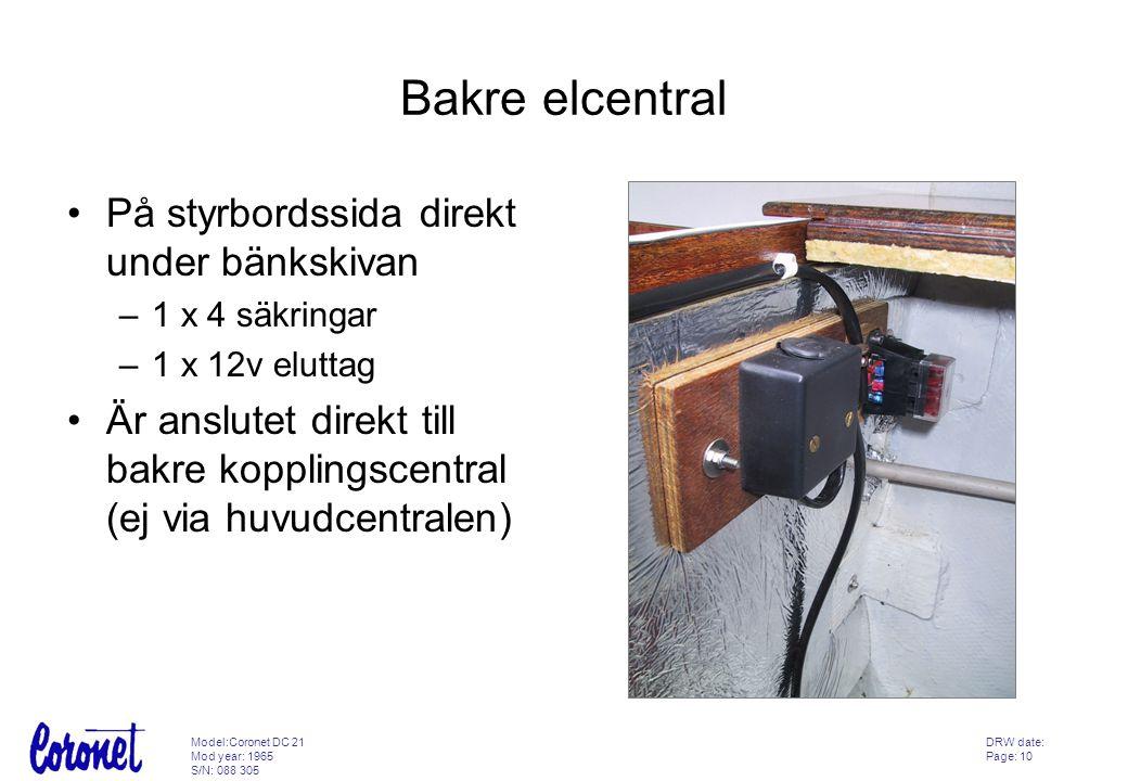 Bakre elcentral På styrbordssida direkt under bänkskivan