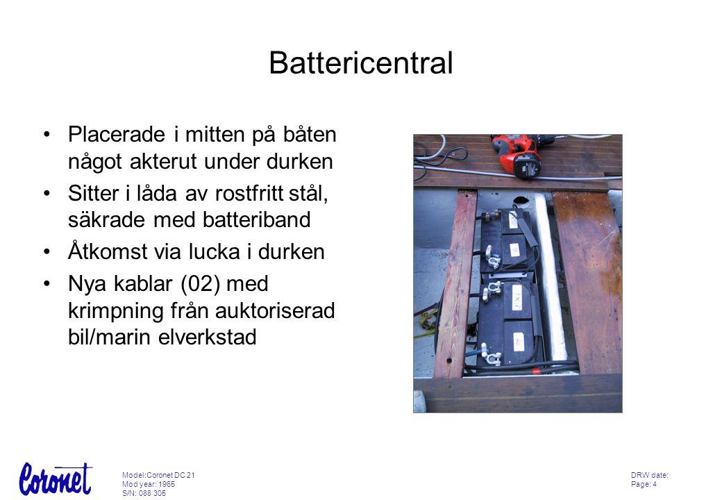 Battericentral Placerade i mitten på båten något akterut under durken