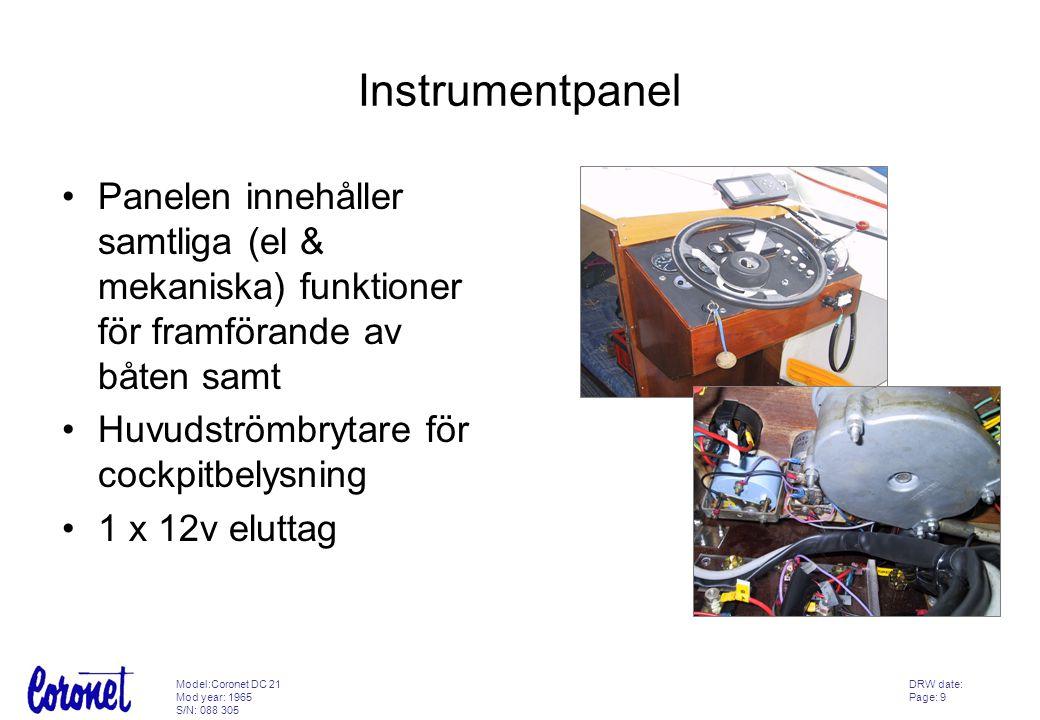 Instrumentpanel Panelen innehåller samtliga (el & mekaniska) funktioner för framförande av båten samt.