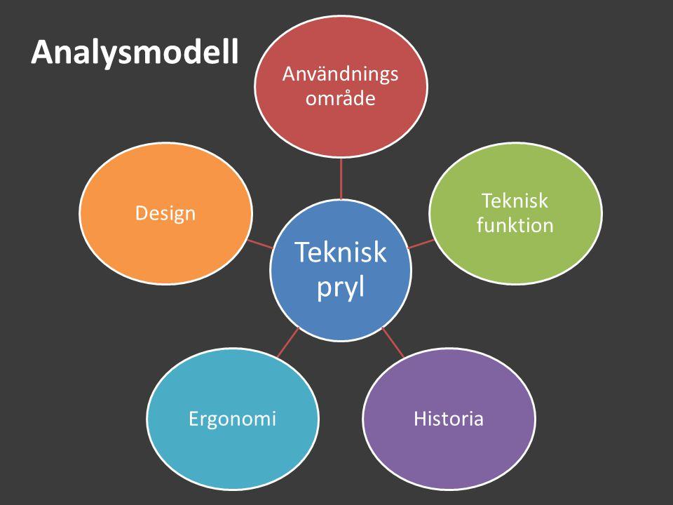 Analysmodell Användningsområde Teknisk funktion Historia Ergonomi
