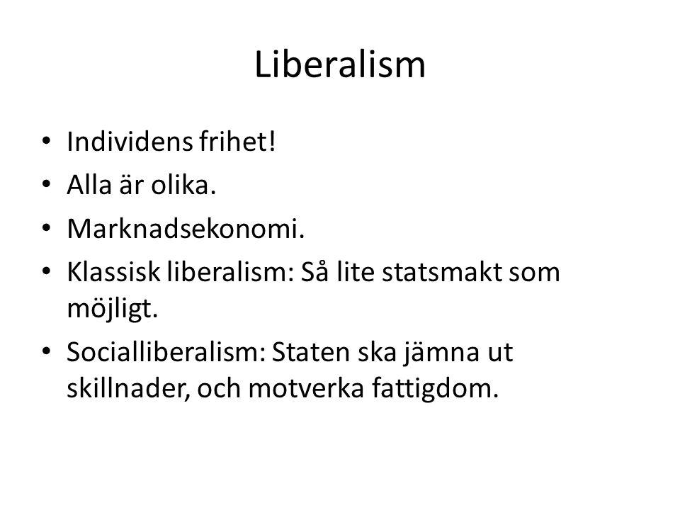 Liberalism Individens frihet! Alla är olika. Marknadsekonomi.