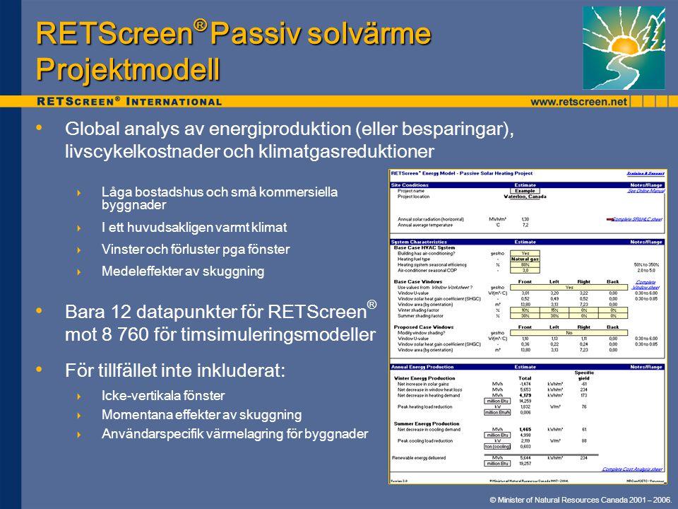 RETScreen® Passiv solvärme Projektmodell