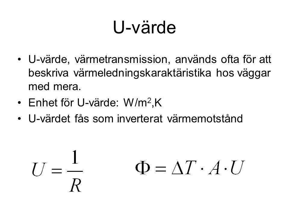 U-värde U-värde, värmetransmission, används ofta för att beskriva värmeledningskaraktäristika hos väggar med mera.