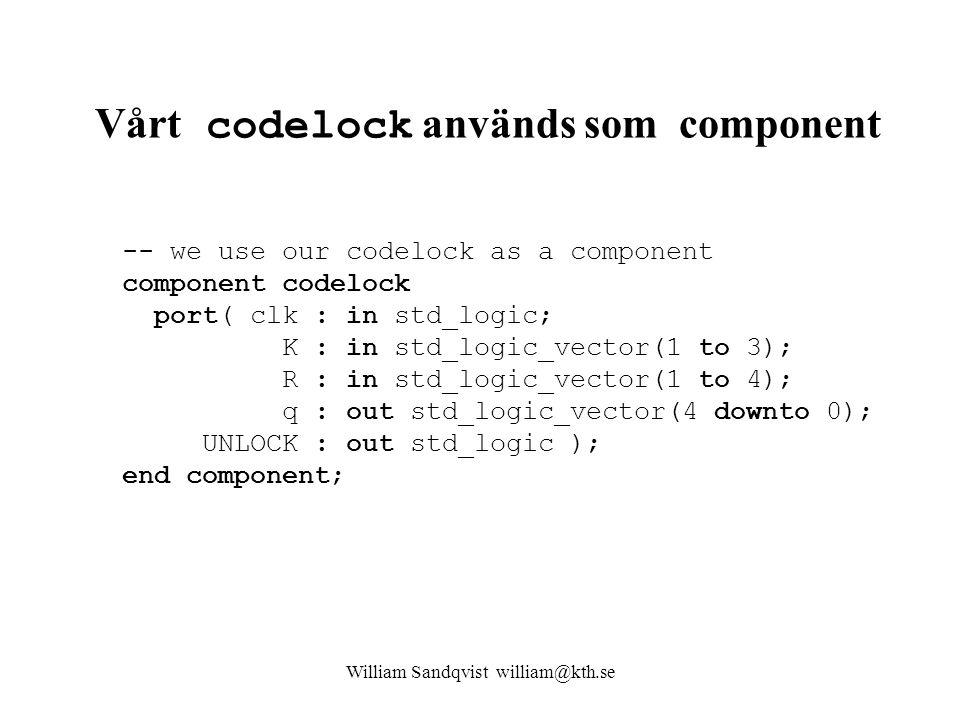 Vårt codelock används som component