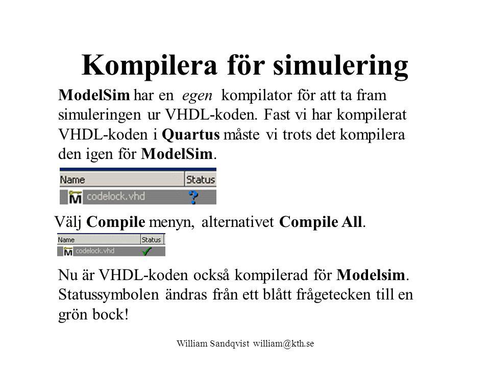 Kompilera för simulering