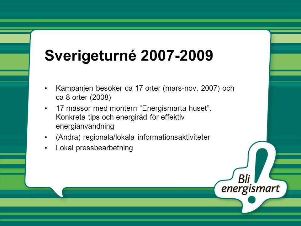 Sverigeturné 2007-2009 Kampanjen besöker ca 17 orter (mars-nov. 2007) och ca 8 orter (2008)
