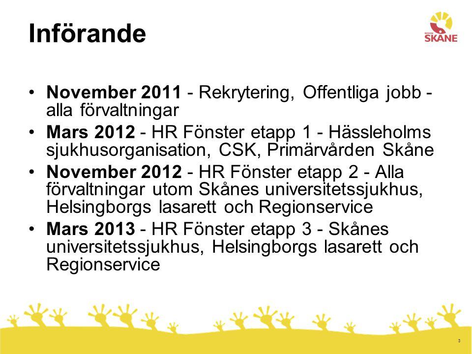 Införande November 2011 - Rekrytering, Offentliga jobb - alla förvaltningar.