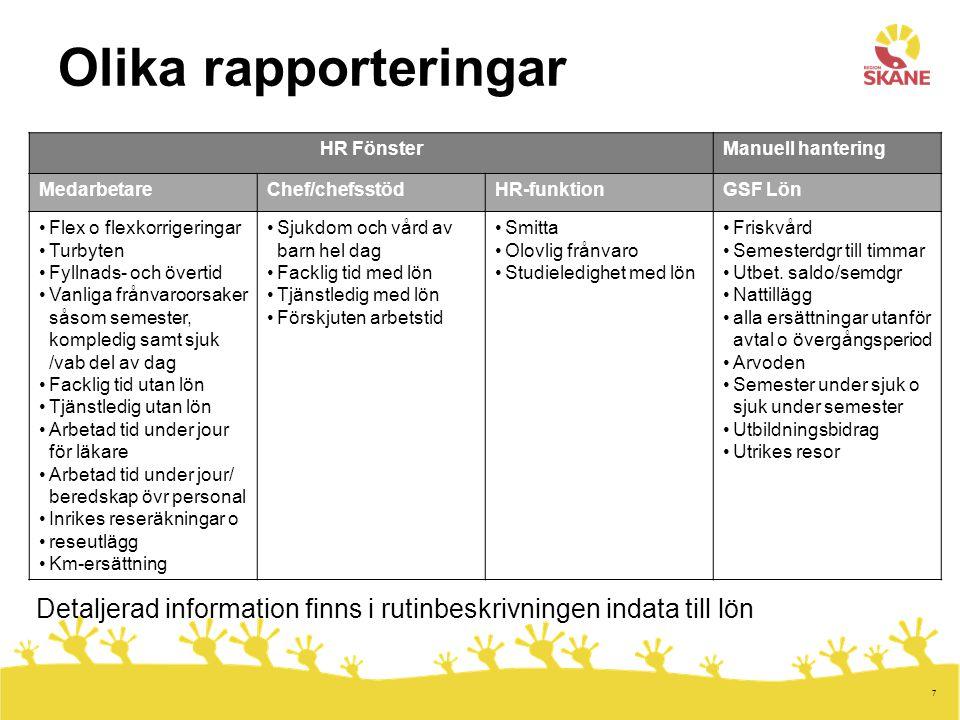 Olika rapporteringar HR Fönster. Manuell hantering. Medarbetare. Chef/chefsstöd. HR-funktion. GSF Lön.