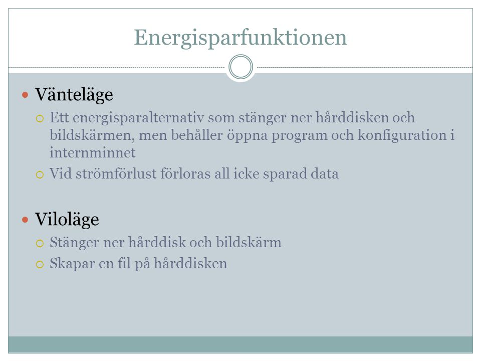 Energisparfunktionen