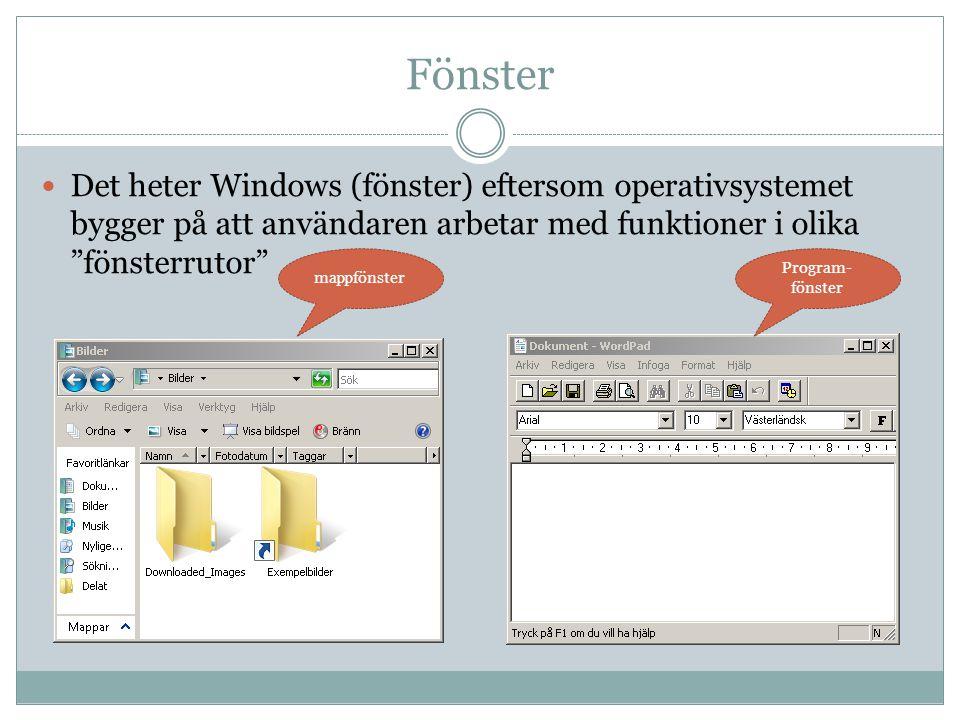 Fönster Det heter Windows (fönster) eftersom operativsystemet bygger på att användaren arbetar med funktioner i olika fönsterrutor