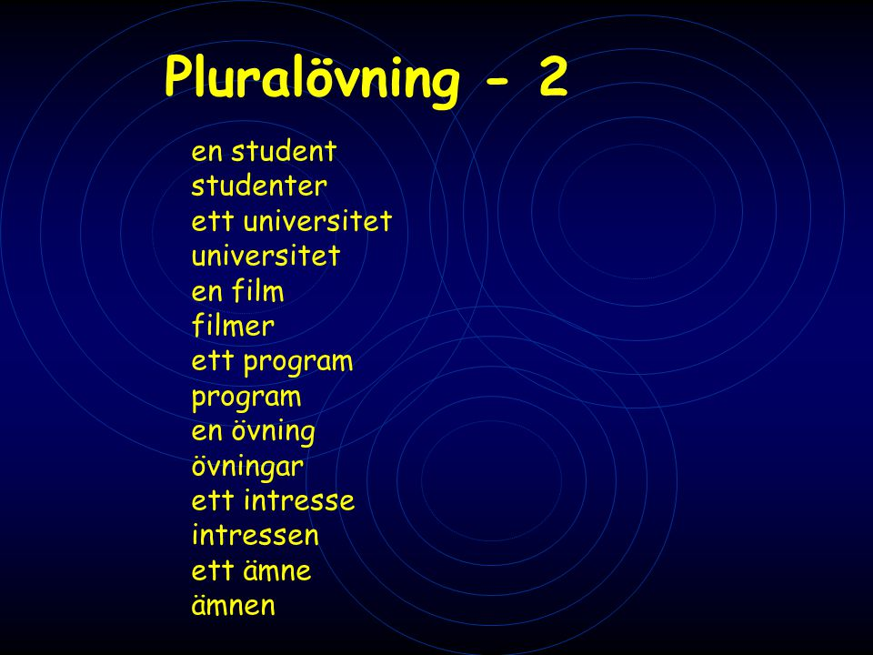 Pluralövning - 2 en student studenter ett universitet universitet