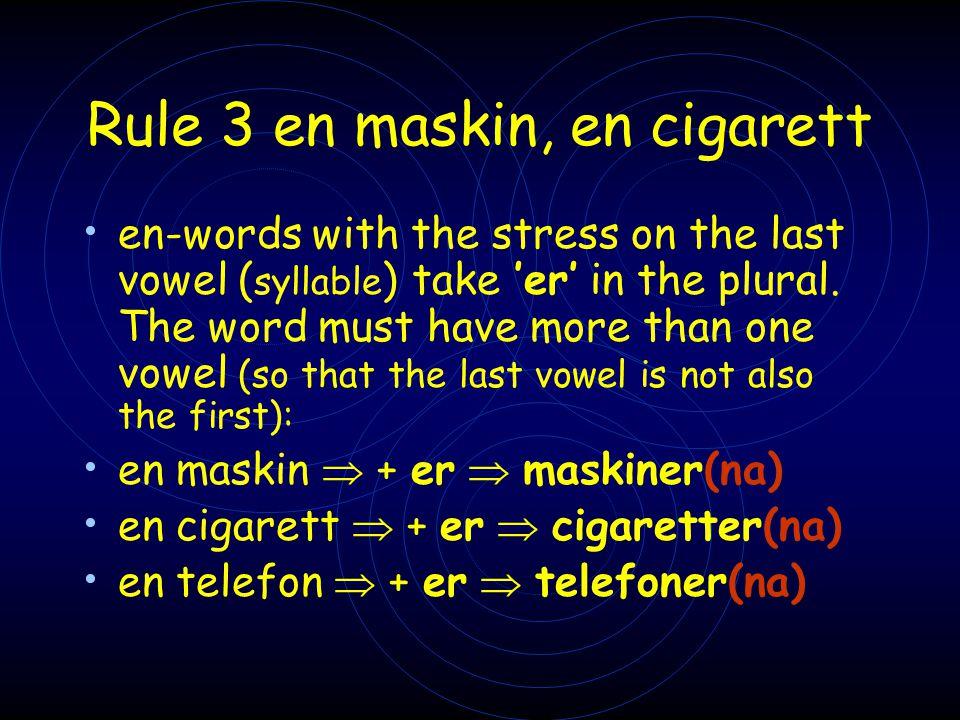 Rule 3 en maskin, en cigarett