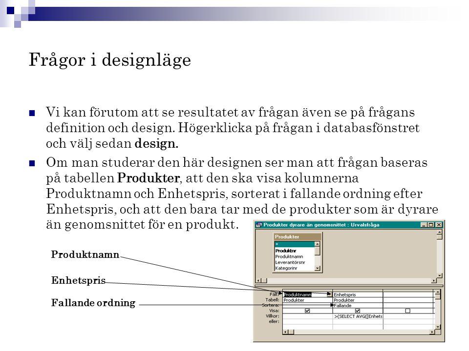 Frågor i designläge