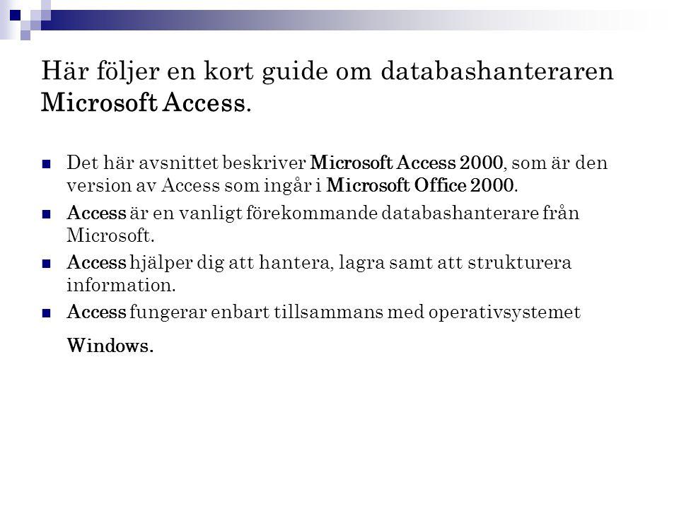 Här följer en kort guide om databashanteraren Microsoft Access.