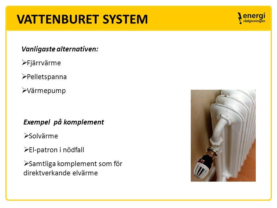 VATTENBURET SYSTEM Vanligaste alternativen: Fjärrvärme Pelletspanna